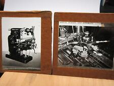 2 x c1910 FACTORY - INDUSTRY LATHE Glass Lantern Photo Slide