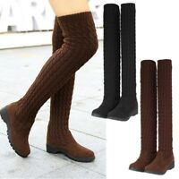 Womens Knit Stretch Over The Knee Boots Winter Warm Thigh High Heel Shoes