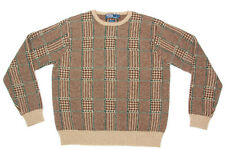 POLO RALPH LAUREN Brown Tan Plaid Houndstooth Lambswool Men's Sweater sz S /831