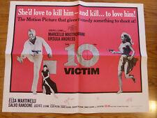 THE 10TH VICTIM - 65'  VINTAGE ORIGINAL 1/2 SHT 22 X 2 8 FOLDED - URSULA ANDRESS