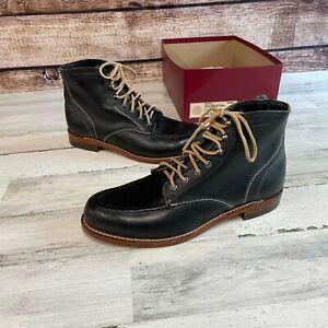 New Wolverine Boots 1000 Mile Men's 1940 Vintage Black Leather Size 10.5 D USA