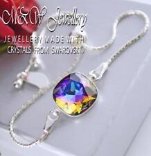 925 Pulsera De Plata Cristales de Swarovski ® elegante piedra Meridiano Azul 12 mm