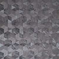 Charcoal Gray faux cow skin textured geometric diamond triangle square Wallpaper