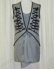 BEAUTIFUL SASS&BIDE GREY SILK MILITARY STYLE DRESS 42/6 AUS 12 TEMPORARY ESCAPE