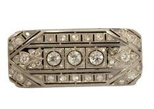 Estate Vintage 2.50ct Diamond & Cubic Platinum 48X19mm 12.5 gram Pin /Brooch