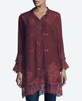 💕NWT! Johnny Was Crochet WYNNE Button Down EMBROIDERED Blouse TUNIC S $278 💕