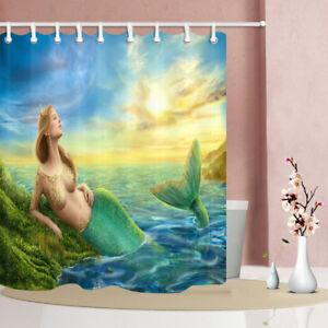 71'' Mermaid Waterproof Bathroom Decor Shower Curtain 12 hooks High Quality