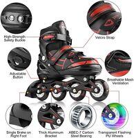 Adjustable Inline Skates Roller Blades with Flashing Wheels Women Men Kids&Teens