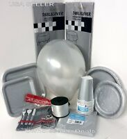 Silver Party Paper Plates Napkins Cups Cutlery Table Covers Balloons Tableware