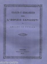 IRPINIA_ARIANO_OSPIZIO CAPEZZUTI_ANTICO STATUTO E REGOLAMENTO_1872_RARA EDIZIONE