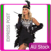 Ladies 20s 1920s Charleston Flapper Chicago Fancy Dress Costume With Necklace AU