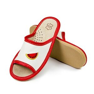 Kids Girls Boys Real Leather Slippers Sandals Home Shoes Kapcie Watermelon