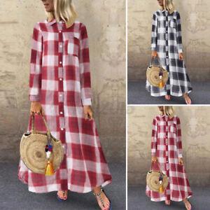 US STOCK Women's Summer Casual Plaid Check Oversized Loose Long Maxi Shirt Dress