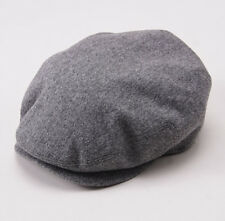 NWT $695 BRIONI Heather Gray Flannel Wool-Cashmere Driving Cap Hat M (57cm)