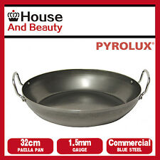 NEW Pyrolux Industry Blue Steel 1.5mm Gauge Commercial Quality 32cm Paella Pan