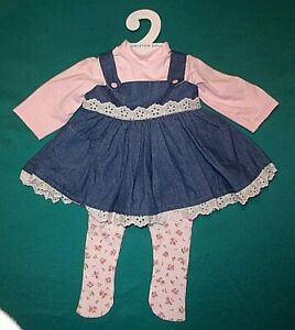 """NEW TAGGED LEE MIDDLETON 22"""" DOLLS THREE PIECE DENIM JUMPER OUTFIT"""