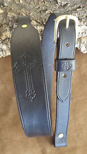 Handmade cobra style leather rifle sling with embossed cross