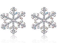 Mini Aurora Borealis Crystal Elements Winter Snowflake Button Earrings Studs New