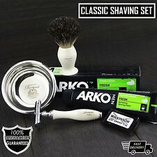 Double Edge Safety Razor Vintage Style Shaving Set Badger Brush,Wilkinson Sword