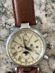 Mens Steinhausen Ivory Dial Leather Band Automatic Watch