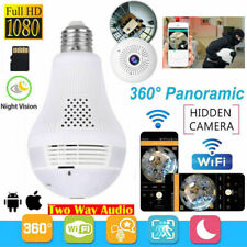 WiFi HD 1080P Wireless 360° Panoramic Fisheye Hidden Bulb Light Spy Camera Lamp