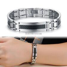 Silver Stainless Steel Black Carbon Fiber ID Link Bracelet Wristband for Men