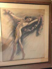 Stunning Rare Signed Antique Original Illustration Painting Nude Walter Nichols