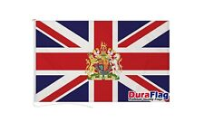 More details for union jack with royal crest duraflag 150cm x 90cm quality flag rope & toggle
