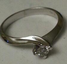 anello oro bianco 18 kt solitario diamante naturale  0,10 ct  -  Offerta