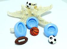 Moule en Silicone, Lot de 3 Ballons foot, rugby, Basket, Fimo, porcelaine froide
