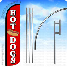 Hot Dogs - Windless Swooper Flag 15' Kit Feather Banner Sign - rz