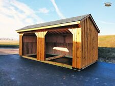 10'x20' Amish Built Horse Run In Shed with Pine Siding