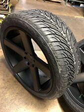 "24"" DUB Baller Black DDT Wheels Rims and Tires Package 6x135 Ford F150"