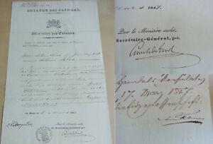 Totenschein Minstére Des Colonies La Haye 1847 († Java ); Signature Chancellor