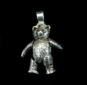Solid 925 Sterling Silver Articulated Teddy Bear Movable Arms & Legs Pendant