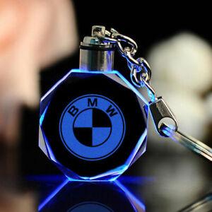 Car Logo Keychain Crystal Light Changing Color LED Light UK Car keyring Gift Box