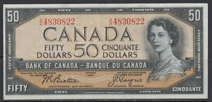 1954 BANK OF CANADA FIFTY DOLLAR A/H BC-42a BEATTIE COYNE UNCIRCULATED NOTE