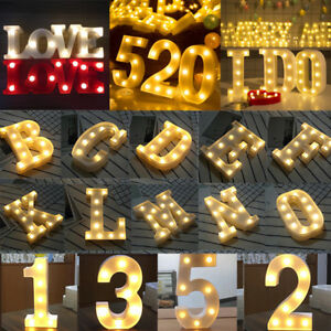 Alphabet/Letter Led Light Up Numbers Standing Sign Wedding Birthday Party Decor