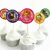 12x Paw Patrol Cupcake Toppers. Party Supplies Lolly Loot Bag Cake Bunting flag