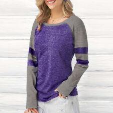 Women Tops Casual Long Sleeve Blouse Pullover Jumper Shirt Fashion Sweats Splice Blue M