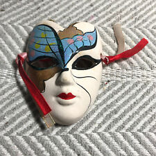 Blue Butterfly Hand Painted White Ceramic Decorative Mask