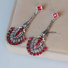 orecchini A perno Argentato Etnico Ventilatore Art Deco Rosso Matrimonio XX 13
