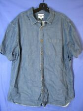 OLD Navy SLIM FIT MENS Denim Color SHIRT BUTTON-UP Oxford BLUE Lightweight XXL