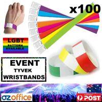100 x Event Wristbands Tyvek Multi Colour - LGBT Party Wedding Birthdays Events