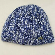 The North Face Knit Blue White Soft Fleece Inside Beanie Warm Winter Hat Women
