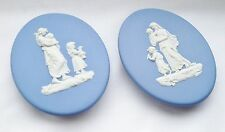 Pair of Wedgwood Pram Plaques Blue Jasperware - No 59