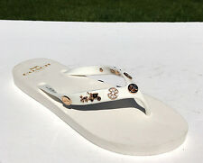 Coach Alyssa Charms Embellished Flip Flops Thong Sandals Sz 7 White & Gold NEW