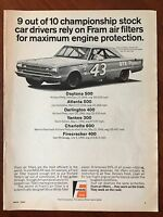 Vintage 1967 Original Print Ad FRAM Oil Filters & Richard Petty's Plymouth GTX
