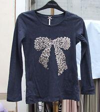 Próximo año 11 Fabuloso Azul Marino W Mancha & Cinta y arco de Plata Lentejuelas Camiseta Top