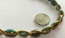 "16"" Strand 14x7mm Hand-Crafted PORCELAIN Oval Beads - Blue and Brown - RAKU LOOK"